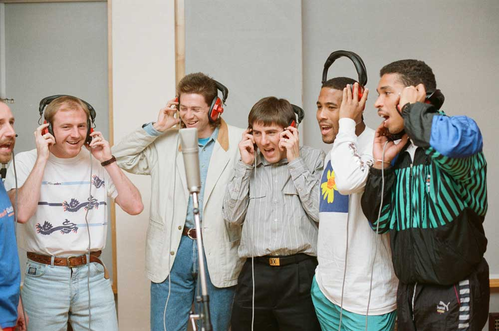 England players, including Peter Beardsley third right, recording World in Motion, March 1990