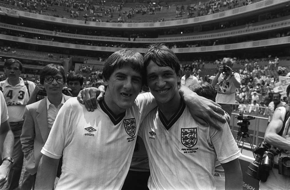 Gary Lineker and Peter Beardsley celebrate England's victory over Paraguay, June 1986