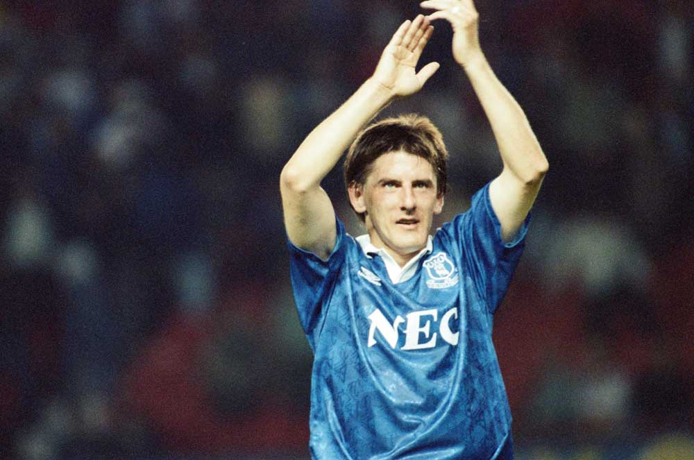 A delighted Peter Beardsley after Everton's 3-0 win over Manchester United, August 1992