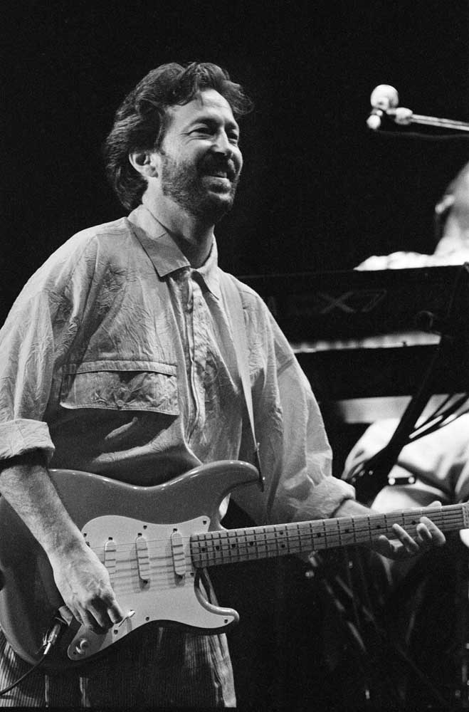Eric Clapton singer/songwriter and guitarist performing at The Birmingham National Exhibition Centre, (NEC) in 1986.