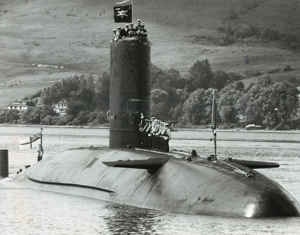 HMS Conqueror returns to Faslane after sinking the Belgrano, July 1982