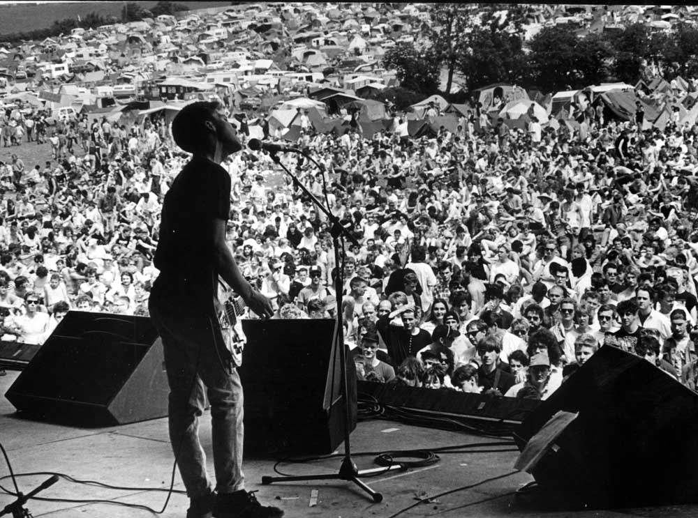 Manchester band New Order playing at Glastonbury, July 1987